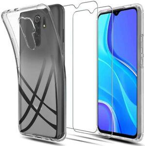 Pour XiaoMi Redmi 9 Coque arrière gel silicone TRANSPARENT + 2 verre trempé