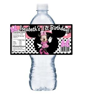 20 PINK MINNIE MOUSE PERSONALIZED BIRTHDAY PARTY FAVORS WATER BOTTLE