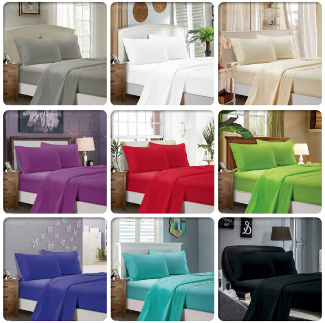 1000TC Ultra Soft 4ps Flat & Fitted Sheet Set Queen/King/Super King Size Bed New