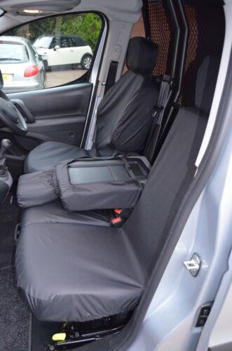 CITROEN Berlingo Van 2018 Impermeable frente 3 Negro Fundas De Asiento UK Made