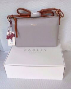 Radley Gift Boxed Grey Leather Across Body Bag Guildhall BNWT RRP ... f0893fc066811