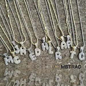 A-Z-Letras-Iniciales-De-Burbujas-Plata-Plateado-Helado-Soga-Cadena-Collar-Colgante-24-034