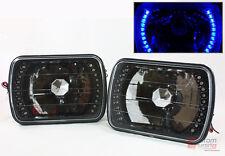 TOYOTA PICKUP TRUCK GLASS LENS JDM BLACK SEALED BEAM SQUARE BLUE LED HEADLIGHT