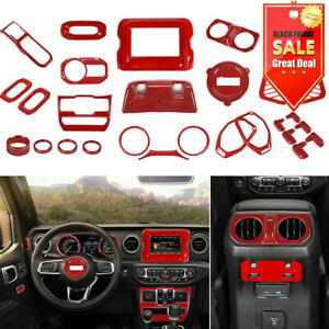 29Pcs Full Interior Accessories Cover Trim Kit Red For 2018+ Jeep Wrangler JL