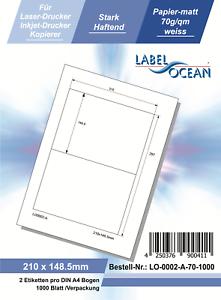 Laser Inkjet Kopierer Klebeetiketten DIN A4 weiß 210x148,5mm 1000 Blatt