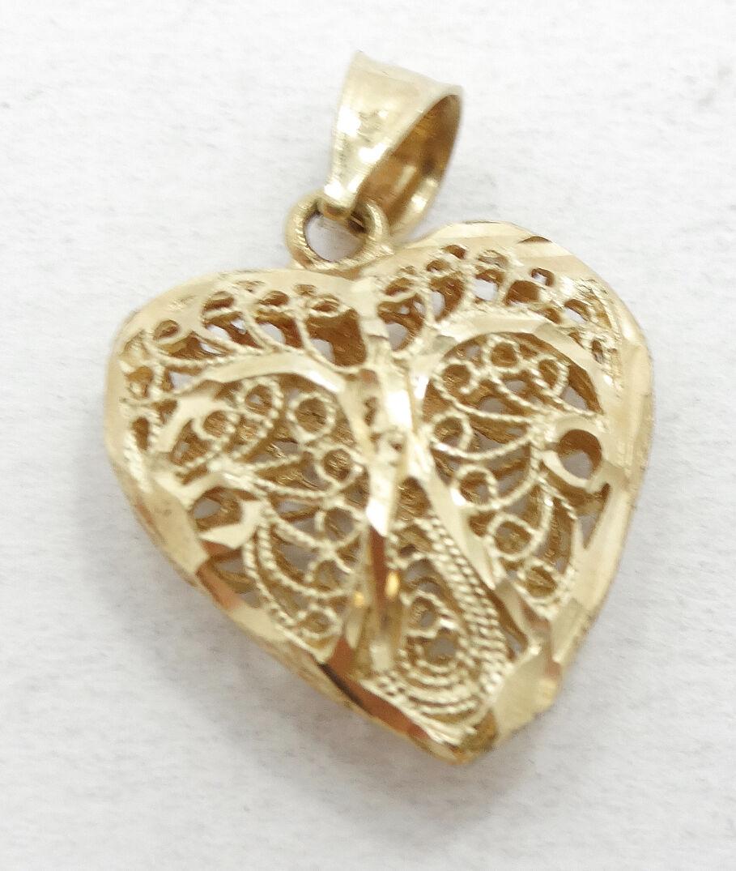 Beautiful 14K Diamond Cut Filigree Puffy Heart Charm Pendant A287