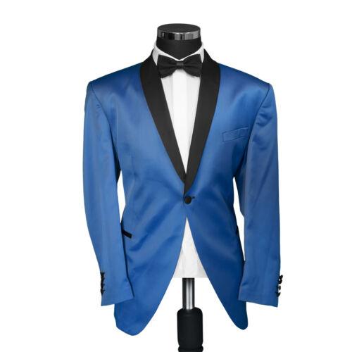 Slim-Regular-Untersetzt Satin Smoking Sakko in Hell Blau+Hochzeit-Bühne-Anzug