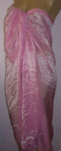 Pink-Sarong-Cover-Up-One-Size-Embroidered-Shell-Trim-Maxi-Beach-Wrap-Skirt-New