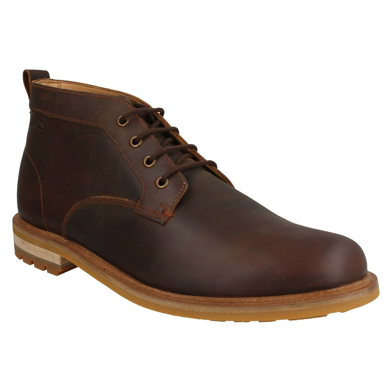 FOXWELL MID MENS CLARKS SMART CASUAL LACE UP LEATHER COMFORT CHUKKA ANKLE BOOTS