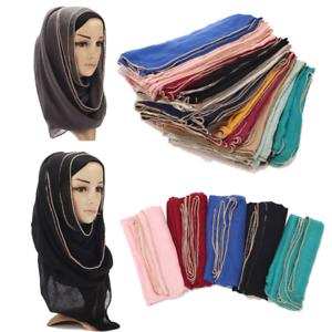 Women-039-s-Muslim-Chain-Edges-Scarf-Women-Plain-Scarves-Shawls-Hijab-Cotton-Blend