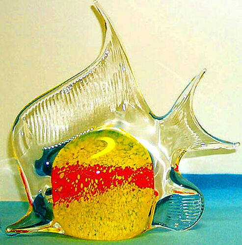 Fish Large Angel//Monark Red Bar on Yellow body 1216 handmade artglass