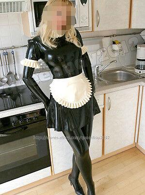 100% Latex Rubber Gummi 0.45mm Maid Dress Uniform Skirt Apron Suit Catsuit Frill