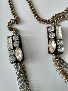American-Eagle-Outfitters-Statement-Rhinestone-Multi-Color-Chain-Strand-Necklace