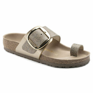 ea4fb50db841 Image is loading Birkenstock-Leather-MIRAMAR-Big-Buckle-Ceramic-Pattern -Blue-