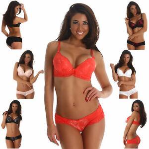 Push-Up Dessous Set Bügel-BH & Slip Underwear Lingerie Damen Spitze sexy Größe