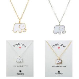 White-Ceramic-Glaze-Elephant-Pendant-Necklace-Gold-Or-Silver-Colour-AUS-SELLER