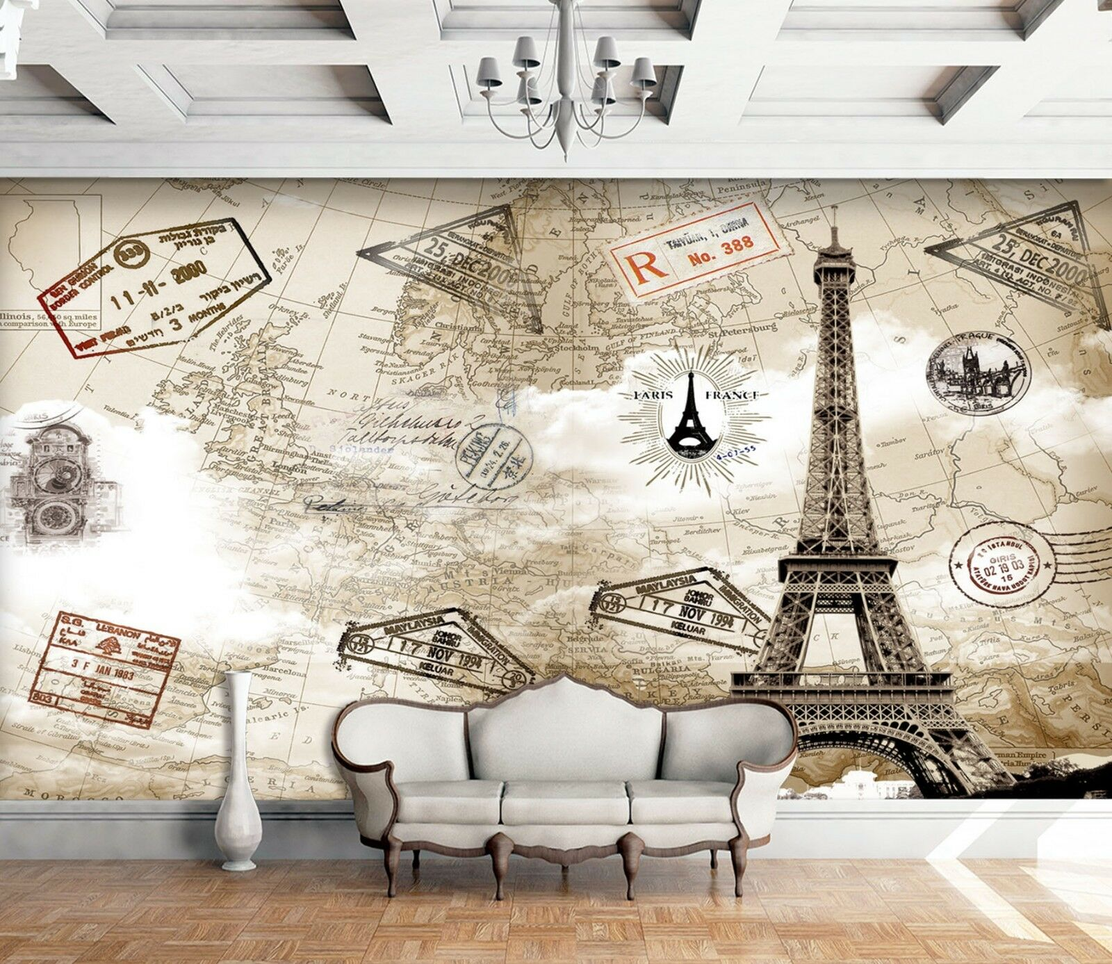 3D Paris Country Map 54 Wall Paper Wall Print Decal Wall Deco Indoor Wall Murals