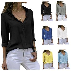 Women-039-s-Chiffon-Long-Sleeve-V-Neck-Blouses-Tops-Button-Down-Business-Blouse