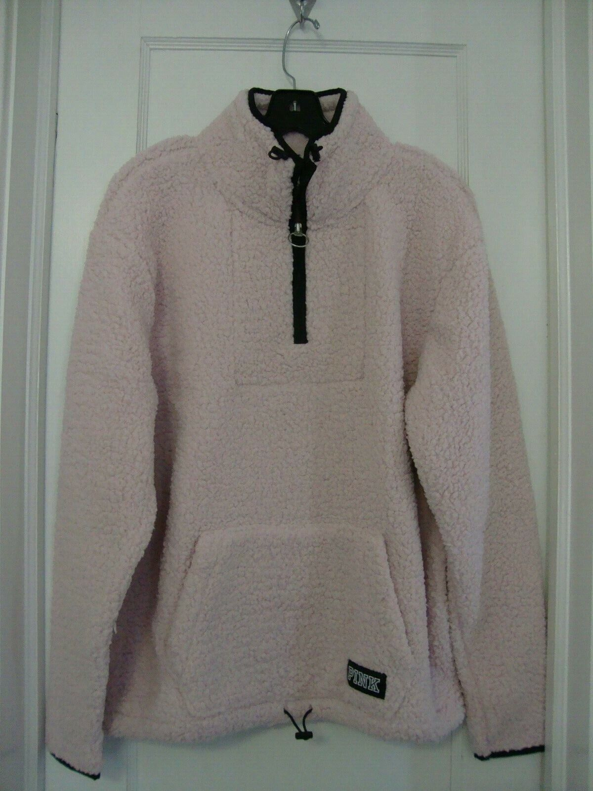 VICTORIAS SECRET PINK HALF ZIP SHERPA BABY pink SMALL NWT