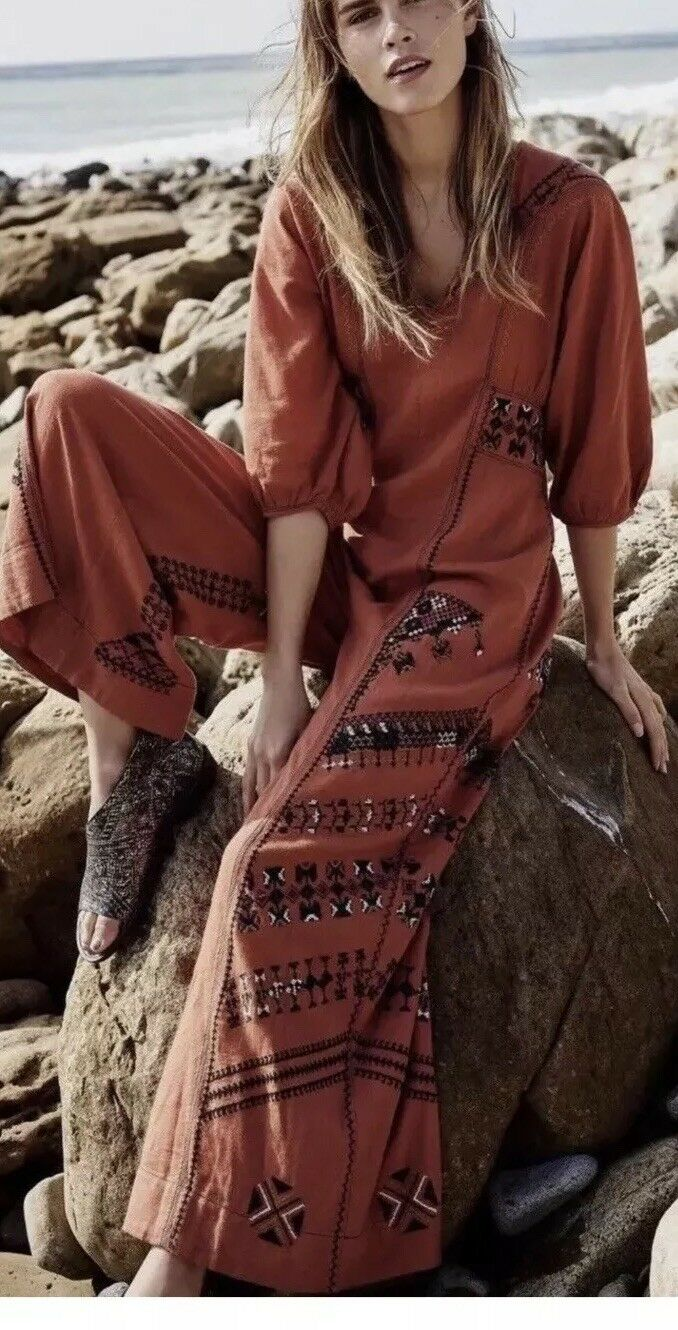 New Free People Peregrine Jumpsuit Embroidered Wide Lag Bohomian S