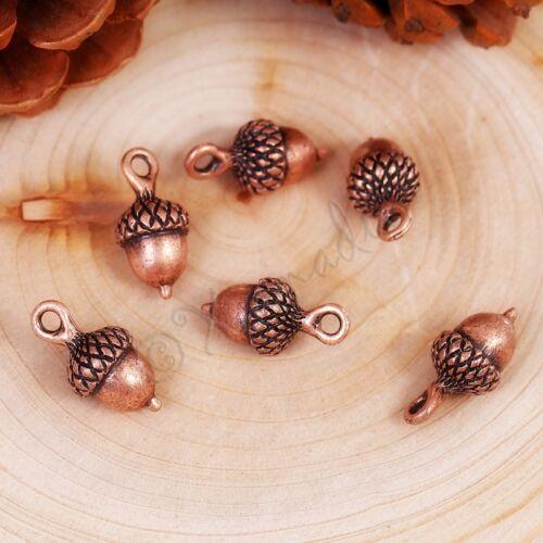 Antiqued Copper Autumn Pendants C5470-5 10 or 20PCs Acorn Charms 18mm