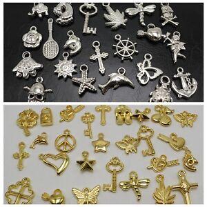 100 Assorted Silver Golden Tone Metallic Acrylic Charm Pendants Flower Cross ect