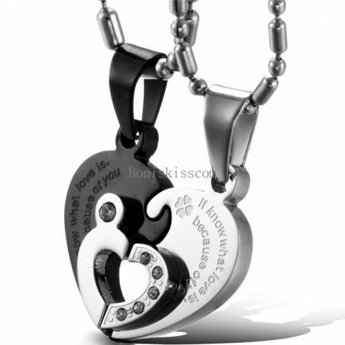 His and Hers Stainless Steel Couple Heart Love Promise Pendant Necklaces 2pcs