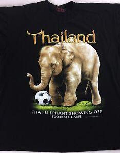 Thailand-Football-Shirt-Adult-SZ-M-L-Elephant-Showing-Off-Soccer-Futbol-Thai-Tee