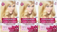 3x Garnier Color Colour Intensity 9.0 Luminous Very Light Blonde - Permanent Dye