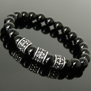 Men-039-s-Women-8mm-Black-Onyx-Bracelet-925-Sterling-Silver-Fleur-de-Lis-Charm-1099