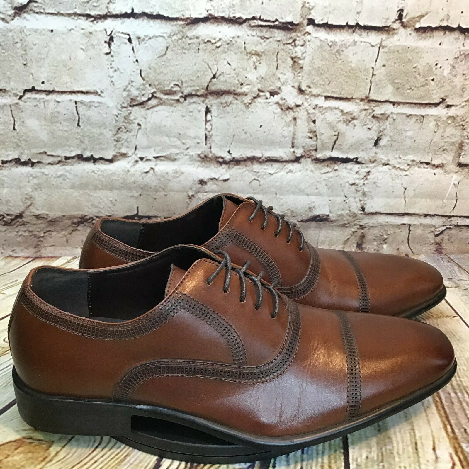 Reaction by Kenneth Cole Mens Brown Leather Square Cap Toe Dress Shoes Size 7.5