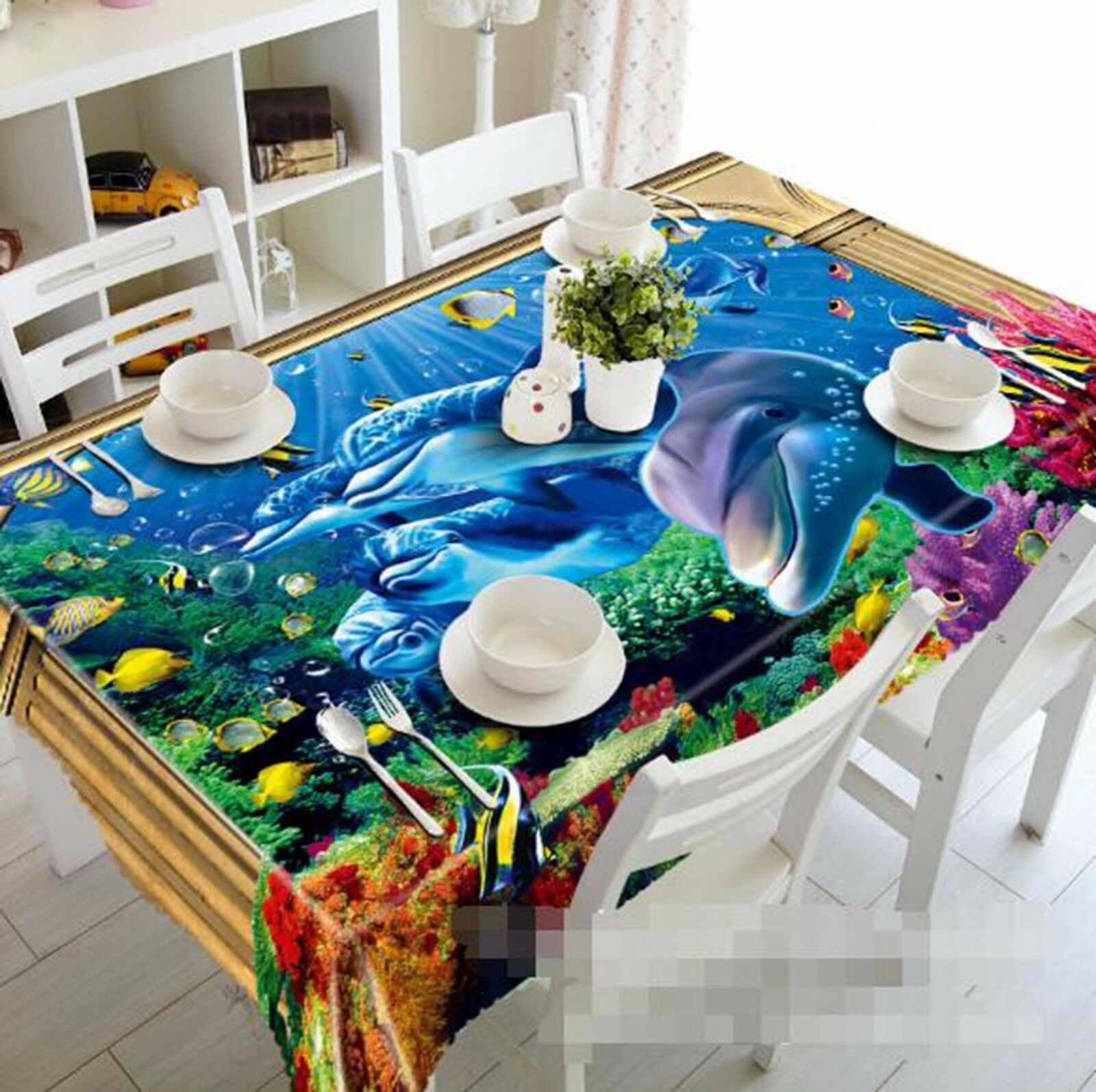 3D Dolphin 52 Tablecloth Table Cover Cloth Birthday Party AJ WALLPAPER UK Lemon