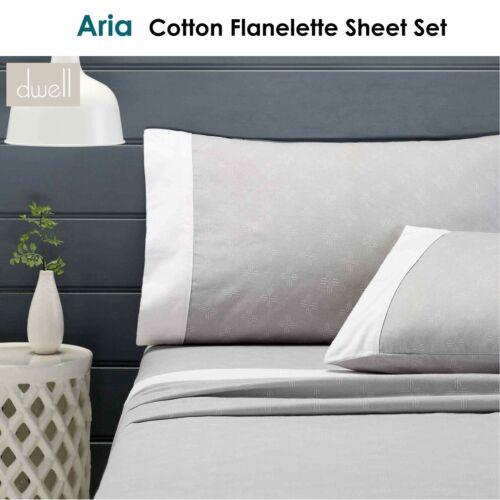 Aria Grey Cotton Flannelette Sheet Set 40 cm Wall by Dwell