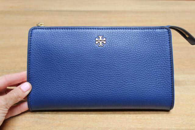 Nwt Tory Burch Marsden Leather Wallet Top Zip Cross Body Handbag Blueberry 228