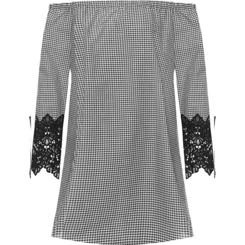 Ladies Women/'s Off Shoulder Bardot Gingham Check Lace Sleeve Gypsy Plus Size Top