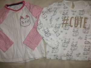 Petites Filles De 2 à Manches Longues Pyjama Tops-age 18-24 Mois-afficher Le Titre D'origine