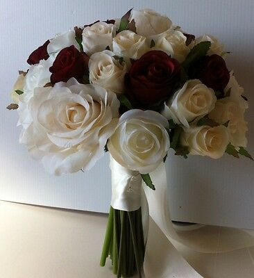 IVORY\WHITE & RED BUDS VINTAGE ROSE POSY WEDDING BRIDE BOUQUET  SILK FLOWERS