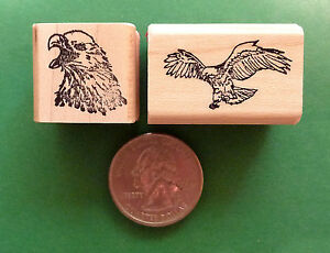 American Eagle Rubber Stamp Combo Mini Set Two Wood Mounted