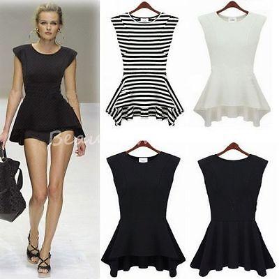 Fashion Women Peplum Frill Hem Casual Party Bodycon Basic Top Slim T-Shirt C112