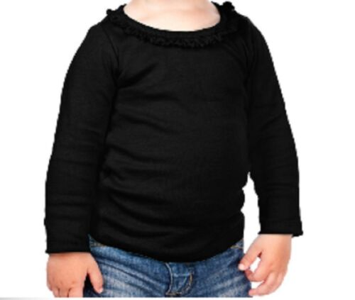 Blank Ruffle Trimmed Girls LONG Sleeved T Shirt 100/% Cotton Crafts COLORS
