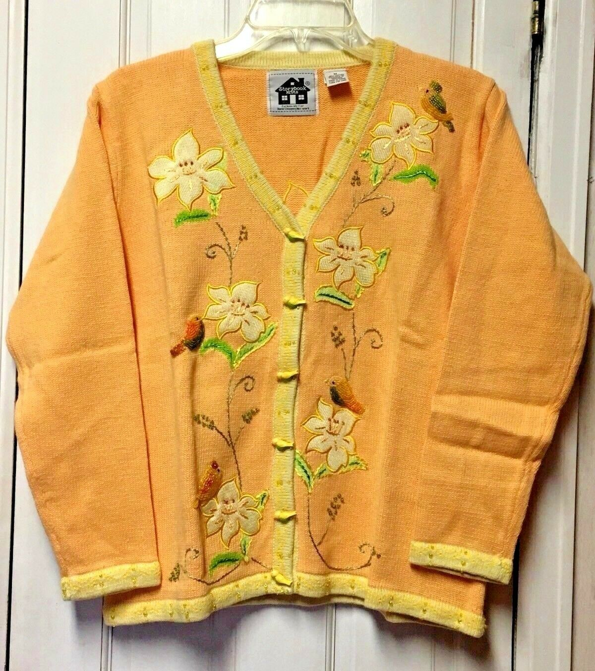 Storybook Knits Morning Song Sweater Cardigan & Tank Top Set Peach Floral Sz M