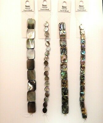 MOTHER OF PEARL /& ABALONE BEAD STRANDS 7IN FLAT OVAL RECTANGLE 10MM 16MM 20MM