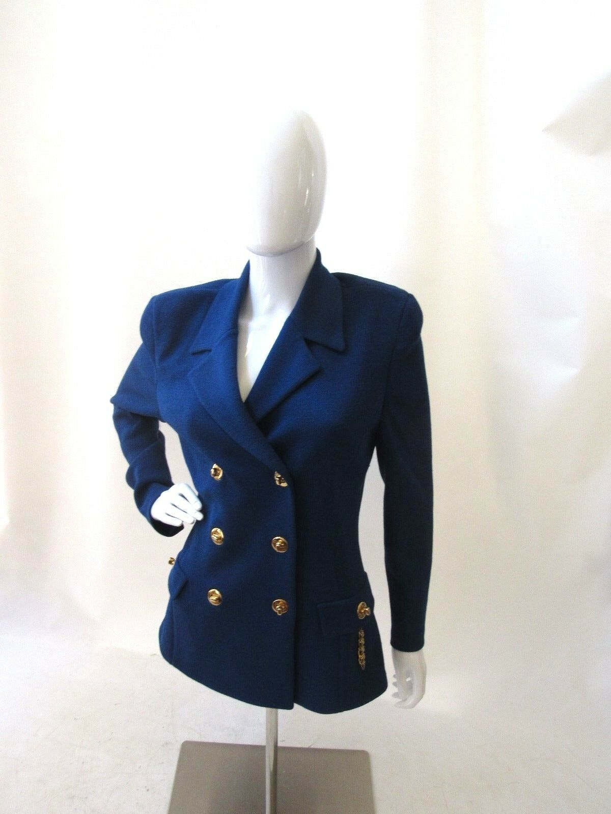 St. John bluee Double Breasted gold Button Long Sleeve Blazer Size 8 EUC