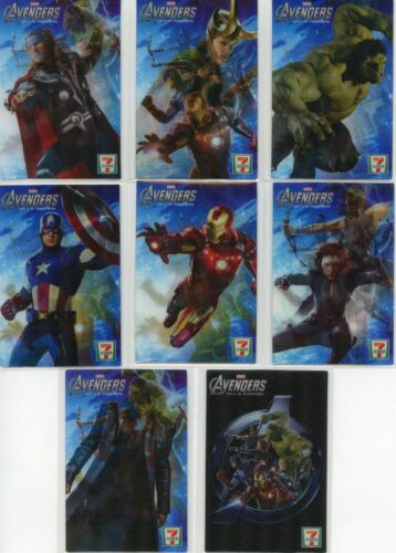 CARDS FROM 2012 PEPSI 8 MARVEL AVENGERS 7-11 MOTION CARD SET OF