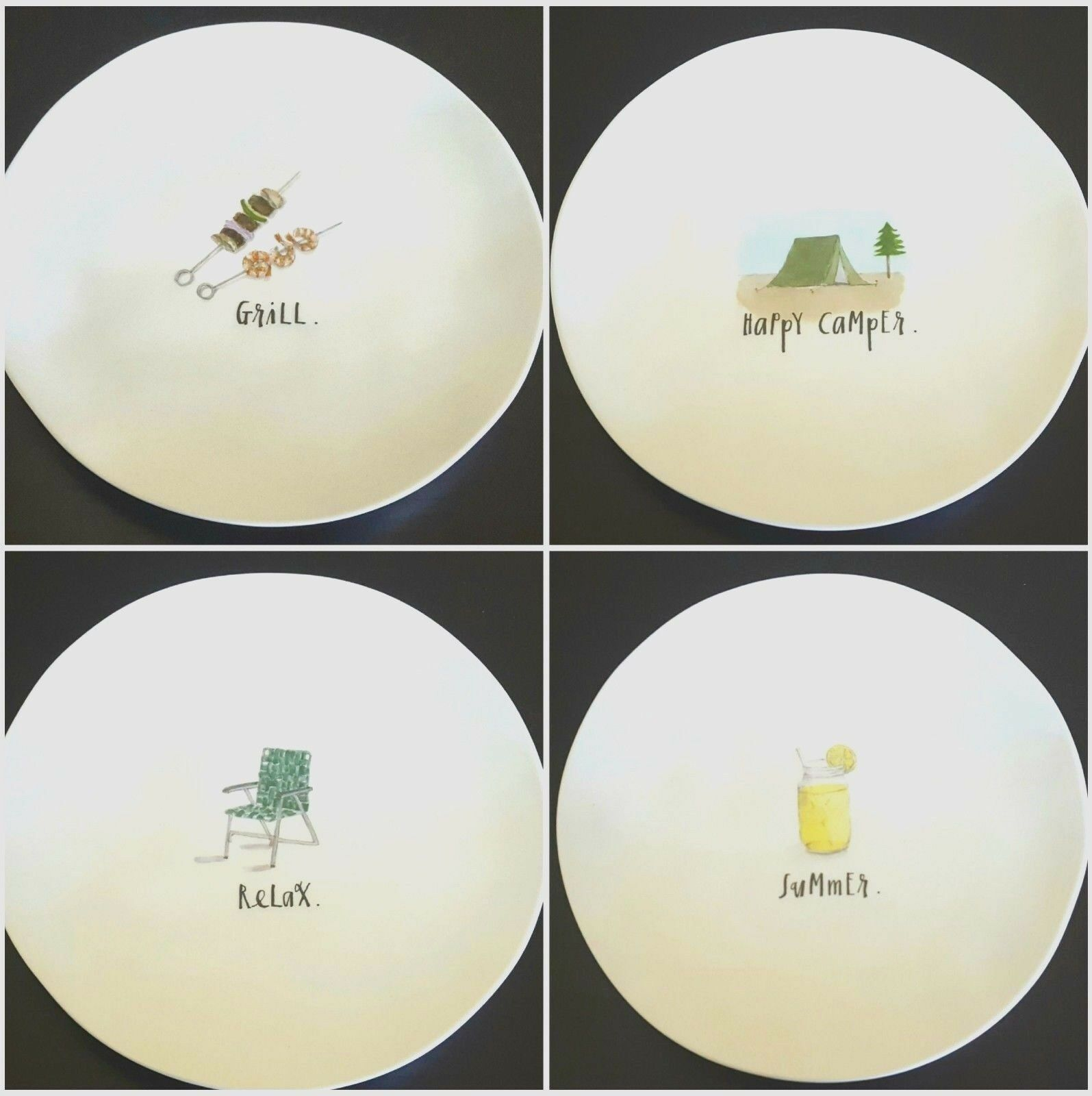 NEW Rae Dunn Melamine Grill Relax Summer Happy Camper Salad Luncheon Plates 4pc