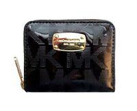 Michael Kors Mk Signature Mirror Metallic Jet Set Zipbifold Wallet Black