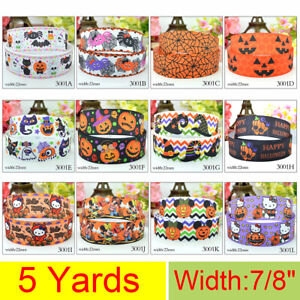 5Yds-22mm-7-8-034-Cartoon-Flowers-Printed-Grosgrain-Ribbon-Free-shipping-DIY-Bow
