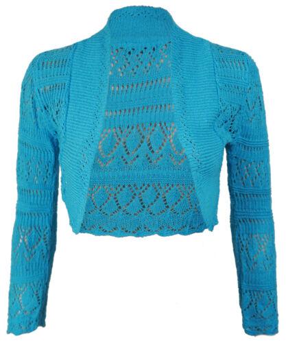 New Ladies Long Sleeve Crochet Bolero Shrug Womens Cropped Knitted Cardigan Tops
