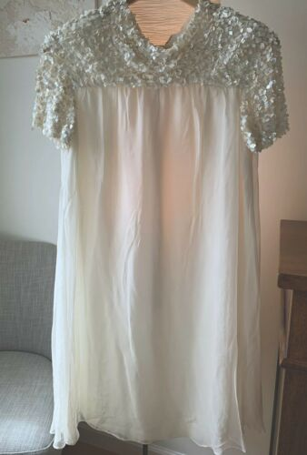 Cream Mini Wedding Dress Handmade Size S