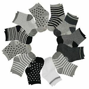 12 Pairs Baby Boys Toddler Non Skid Cotton Socks with Grip 1-3 Years by Flanhiri 1-3 Years, 12 pairs